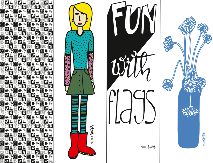 vlag lowlands iconen bloemen flags Illustrator Amsterdam