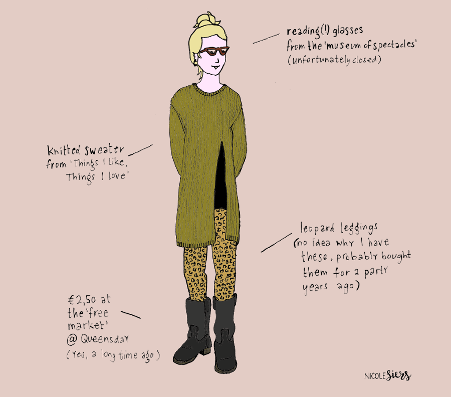 Kleding Wardrobe Trui Shirt Leggings Glasses Boots Illustrator Amsterdam Laarzen