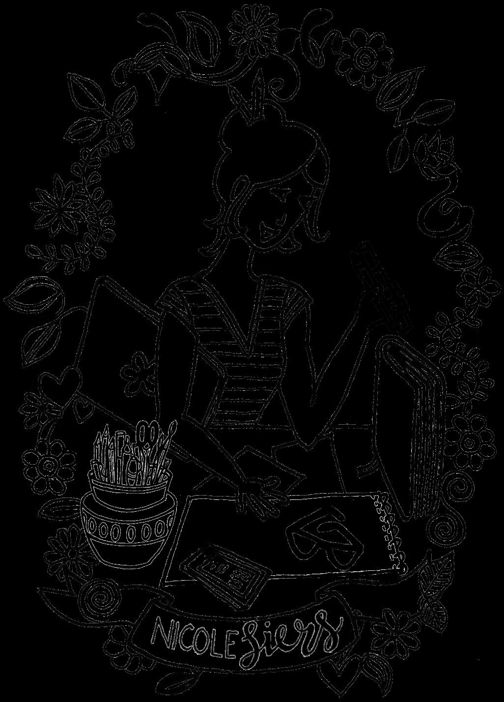 logo nicole siers illustrator bureau met tekenspullen